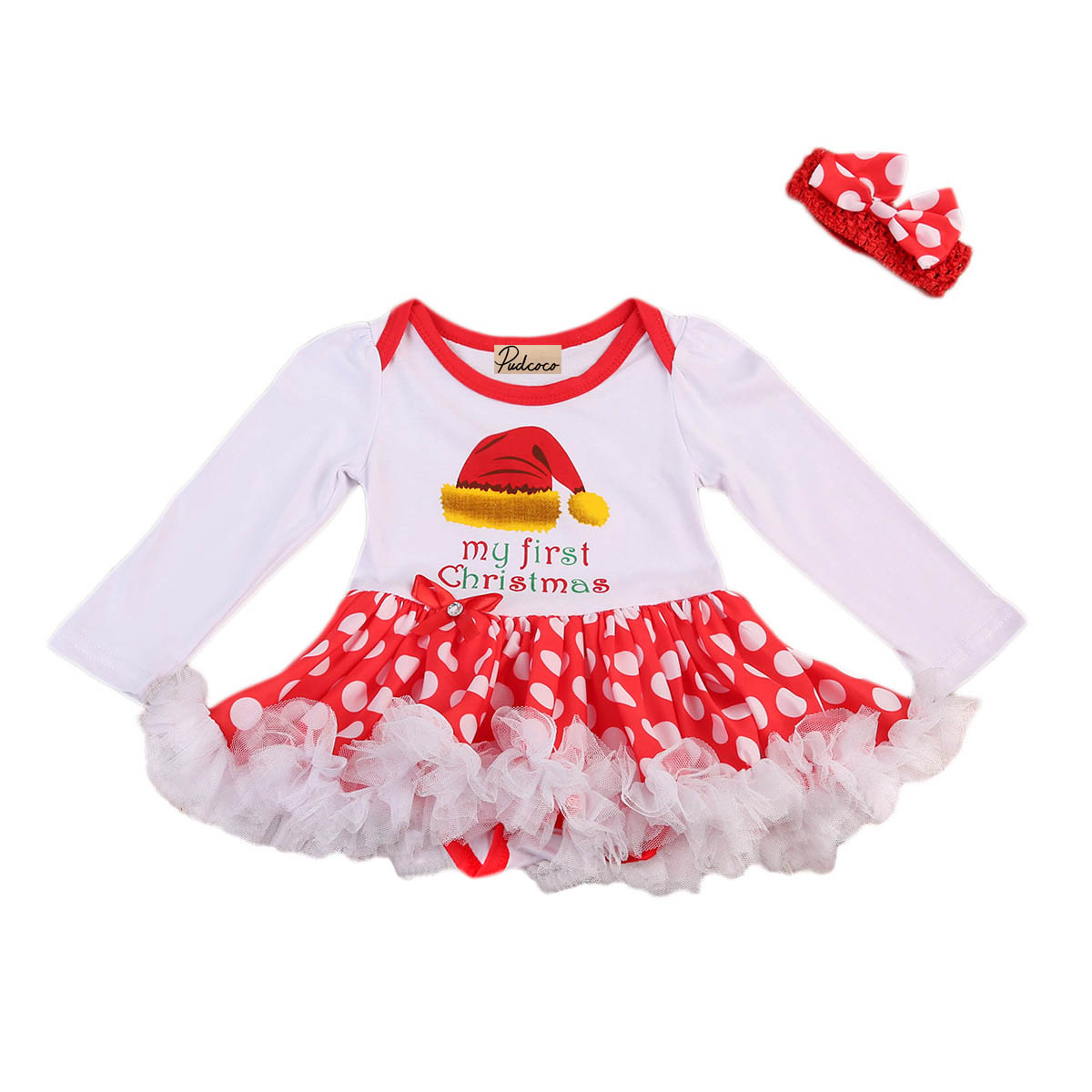 Baby Girls Bodysuit Tutu Long Sleeve O-Neck Print Red Lace Dress Outfits 0-24M Newborn Christmas Costume 2PCS Set himipopo 2 pcs baby girls bodysuit dress