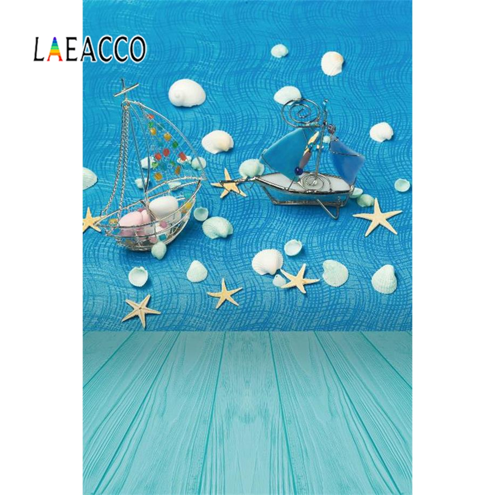 Laeacco Summer Shell Starfish Planks Scene Photographic Backdrop Baby Newborn Vinyl Photography Background Wall For Photo Studio in Background from Consumer Electronics