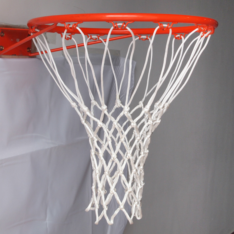 Standard Nylon Thread Sports Basketball Hoop Mesh Net Backboard Rim Ball Pum 12 Loops White Red Blue 3 Colors Net Wholesale