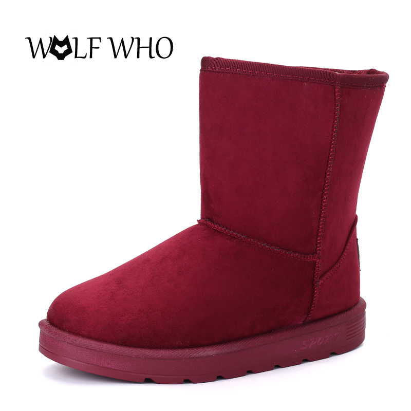 WOLF WHO Women Boots Fur Winter Snow Boots Female Shoes Warm Ladies Ankle Australia Boots Women Botas Botte Femme Footwear 2016 rhinestone sheepskin women snow boots with fur flat platform ankle winter boots ladies australia boots bottine femme botas