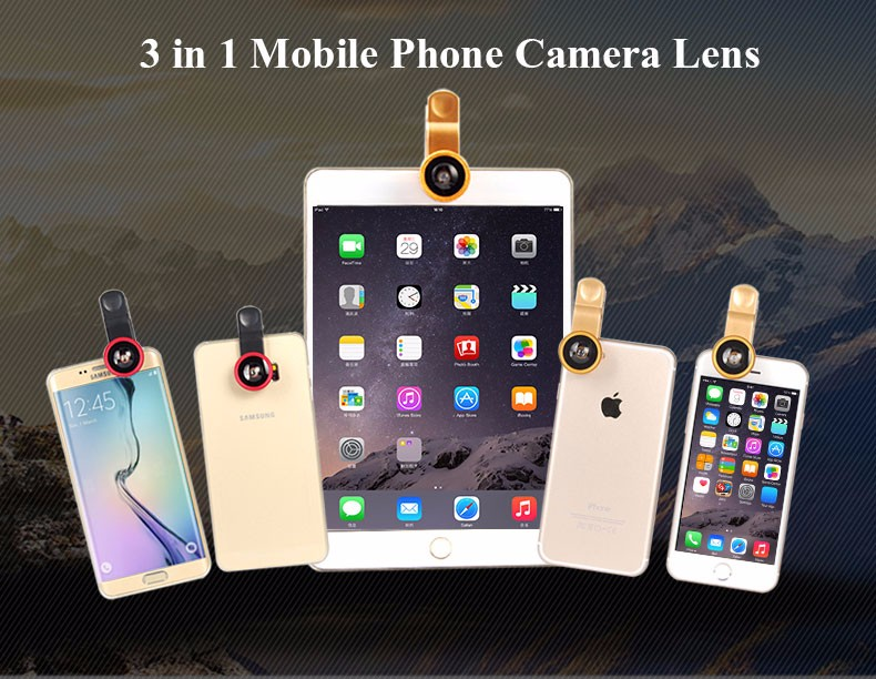 New Fish Eye lens,Wide Angle + Clear Macro Lens For Iphone 5s 6 7 Universal 3 in 1 Phone Camera Len For Sansung Huawei Sony HTC 1