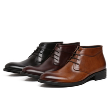 Fashion black / brown / wine red mens ankle boots dress shoes genuine leather business boots mens wedding boots