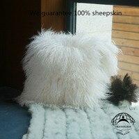 okayda soft Ningxia Tibet lamb sheepskin pillow cushion 1pcs luxurious Case Natural Sheepskin Pillow Cover white