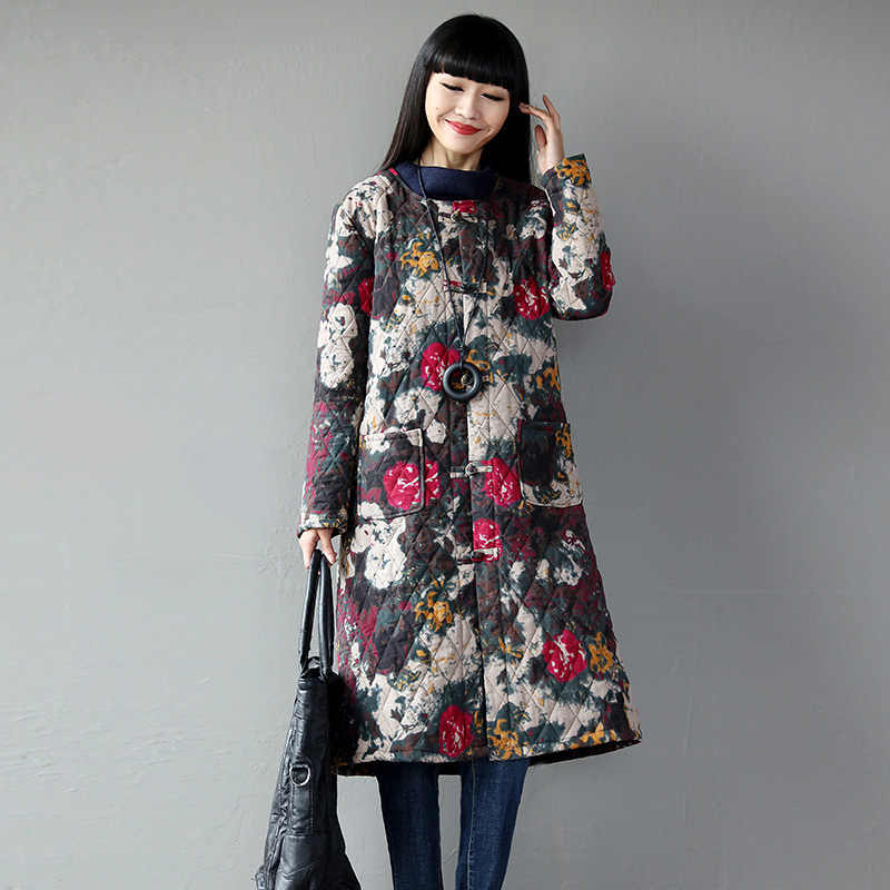 RC S SECRET Women Dress priting Style LengthThick Cotton Coat Warm Cotton Clothing Long Coat Large