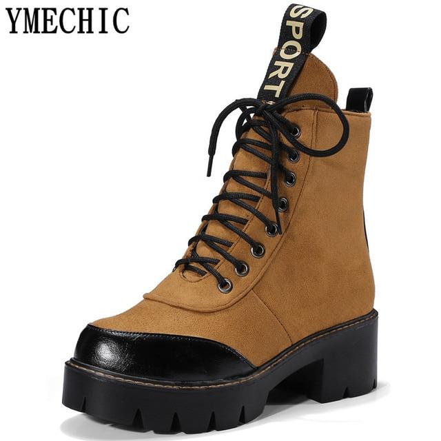 YMECHIC Dames Dentelle Jusqu à la Cheville Courte Punk Bottes Moto Western  Militaire Combat Bottes ec76052198f2