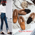 Woman Winter Loafers Warm Fur Flat Heel Sweet Bowtie Comfortable Cotton Shoes Woman Candy Color Flats Shoes Botas Mujer
