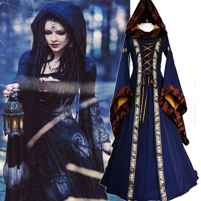 f0167f9980a Halloween Victorian Dress Cosplay Costumes Scary Vampire Witch Clothes Women  Medieval Masquerade Costume Black Fancy Maxi