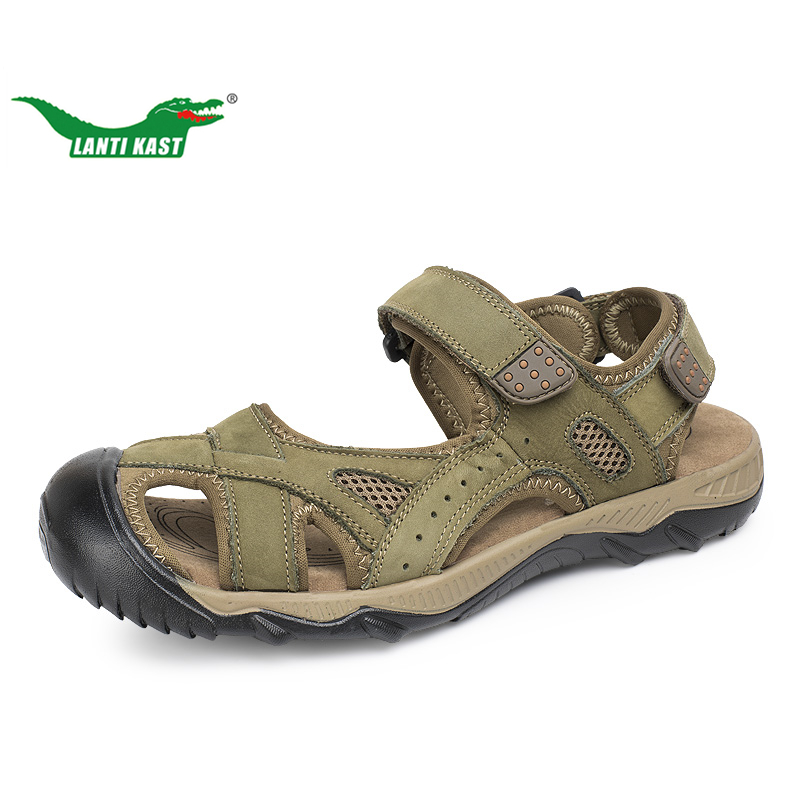 LANTI KAST Men Hiking Sandals Outdoor Leather Mountain Climbing Trekking Sport Shoes Rubber Anti-slippery Wear-resisting Sneaker auto alternator for land rover discovery range rover sport lra02880 lra2880 63377528