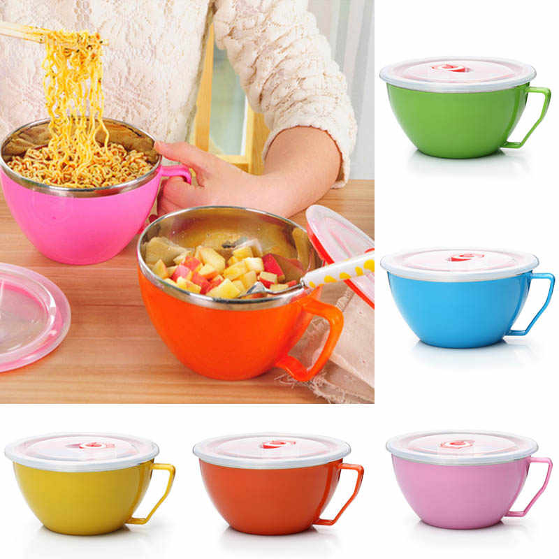 900ml Noodle Bowl With Lid Handle Stainless Steel Plastic Leak-Proof Food Container Rice Soup Bowls JS21