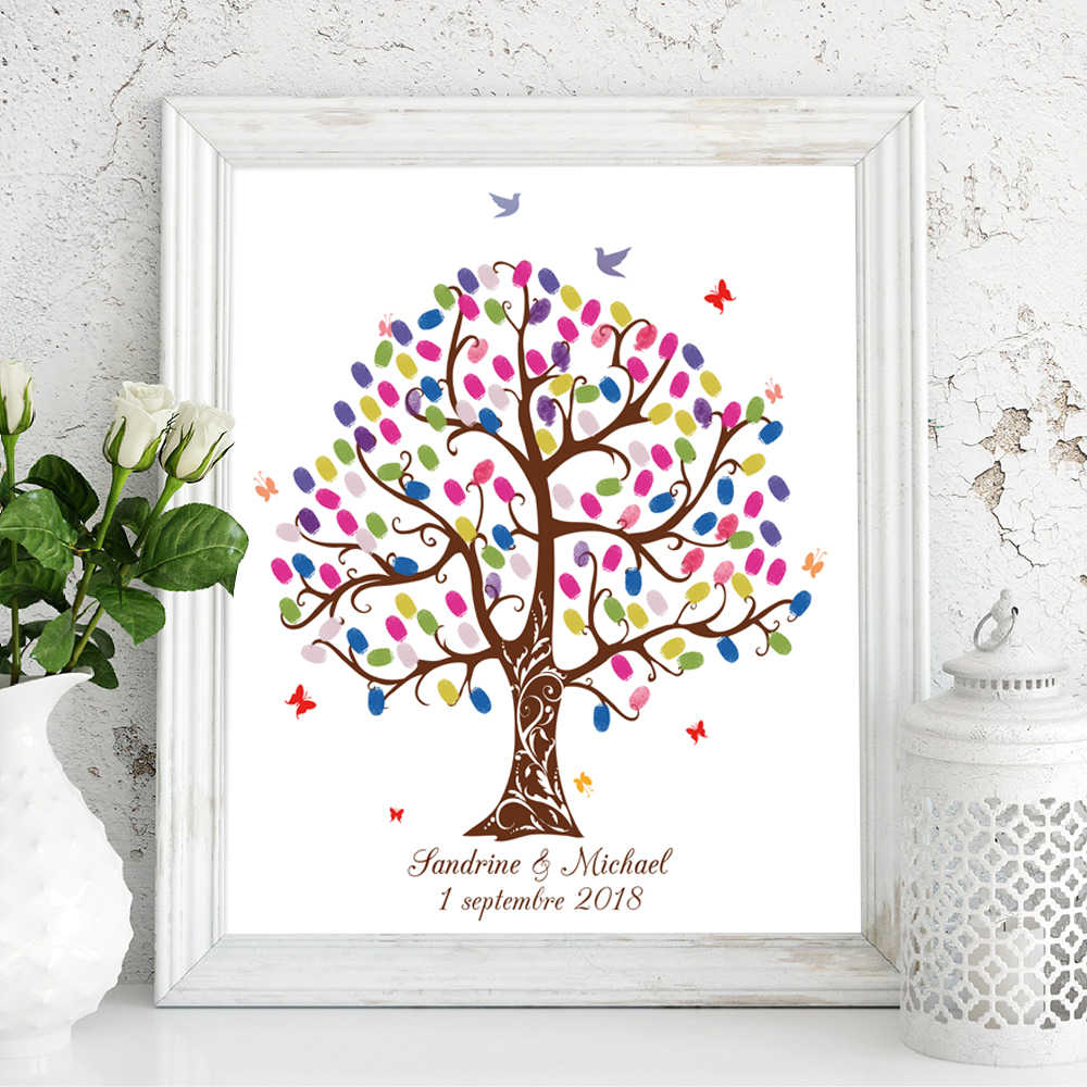 Free Custom Name Date DIY Fingerprint Signature Guest Book,Canvas Print Wedding Tree For Party Decoration,Ink Pad Included