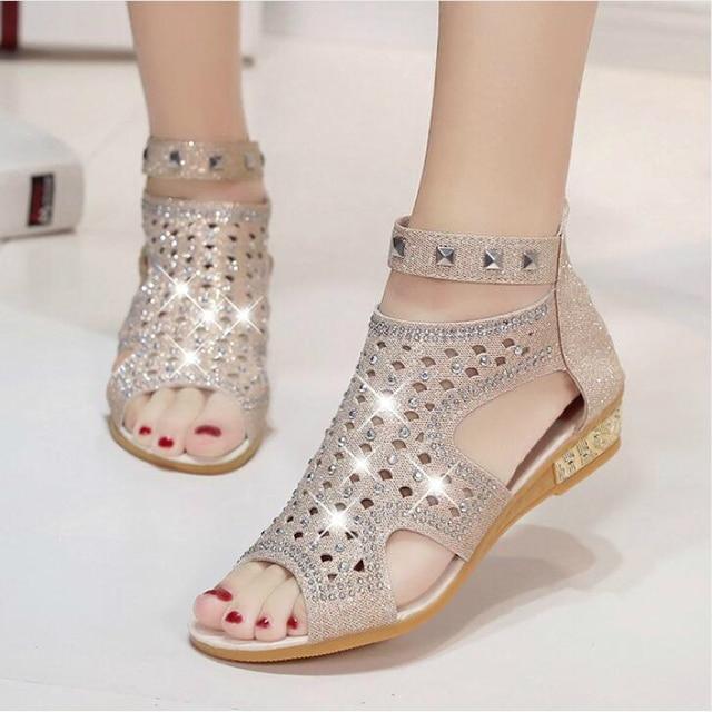 8de3536b7 2017 Sandálias Das Mulheres Do Dedo Do Pé Aberto Ankle Boots Sandália Mulher  Cristal Bling Cunhas