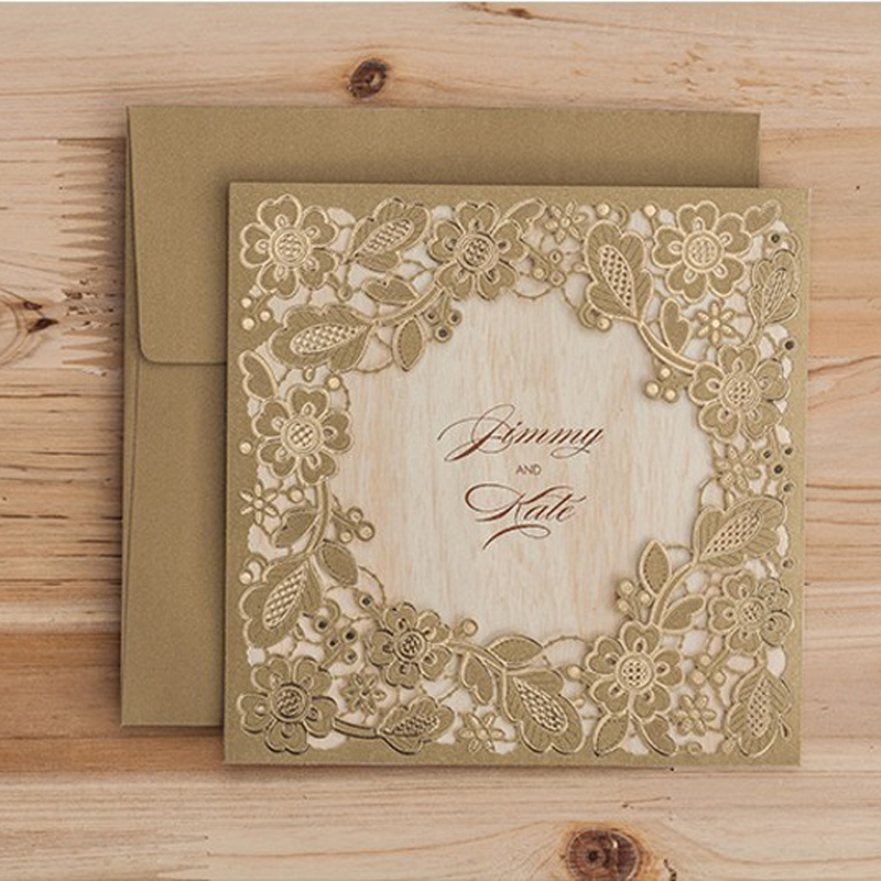 100pcs Laser Cut Wedding Invitations Cards Postcard Elegant Flowers Free Printing Event Birthday Party Invitation Card casamento square design white laser cut invitations kit blanl paper printing wedding invitation card set send envelope casamento convite