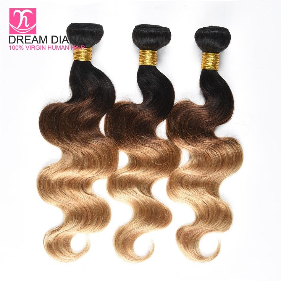 Human Hair Weaves Dreamdiana Ombre Three Tone Hair Weave 1b/4/27 Remy Brazilian Hair Body Wave 3 Bundles Colored Dark Roots Meche Bresilienne Hair Good Taste Hair Extensions & Wigs