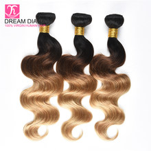 DreamDiana Three Tones Ombre Body Wave 1B 4 27 Ombre Remy Brazilian Hair Ombre 3 Bundles Colored Hair Dark Roots Brown Gold Hair(China)