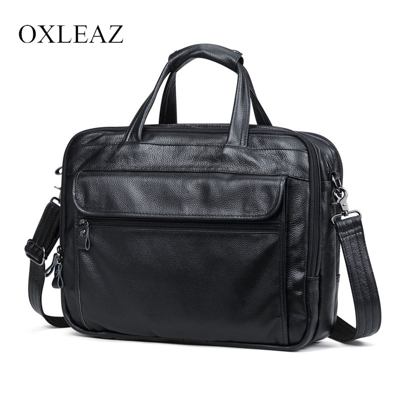 "OXLEAZ Brand 15"" Men Business Bags Men Laptop Briefcase Male Genuine Leather Computer Work Bag Large Vintage Handbags For Man(China)"