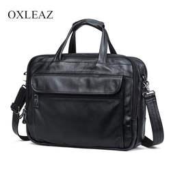 """OXLEAZ бренд 15 """"для мужчин бизнес сумки для ноутбука портфели мужской пояса из натуральной кожи Компьютер работы мешок большой Винтаж"""