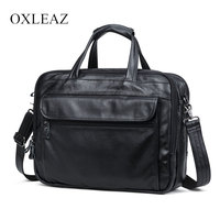 OXLEAZ Brand 15 Men Business Bags Men Laptop Briefcase Male Genuine Leather Computer Work Bag Large Vintage Handbags for Man