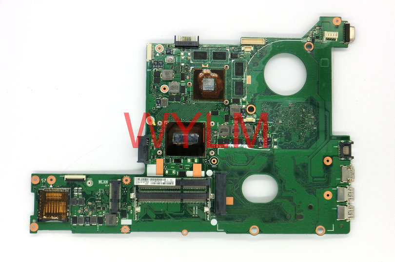 FREE SHIPPPING original 60NB01C0-MB7 for N46JV laptop motherboard main board mainboard I7-4700HQ CPU GT750M 100% Working