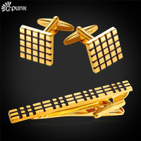 Tie Clips Set Luxury Cufflinks Brand High Quality With Gift Box 18k Real Gold Platinum Plated