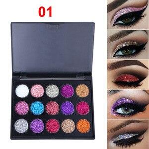 Image 3 - 15 farben Glitter Lidschatten Diamant Regenbogen Machen Up Kosmetische Gedrückt Glitters lidschatten Magnet Palette Make Up Set für Schönheit