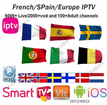 Europe IPTV Subscription Rocksat France UK German Arabic Dutch Sweden French Spain Portugal Smart TV IPTV M3U 6400 Live(China)