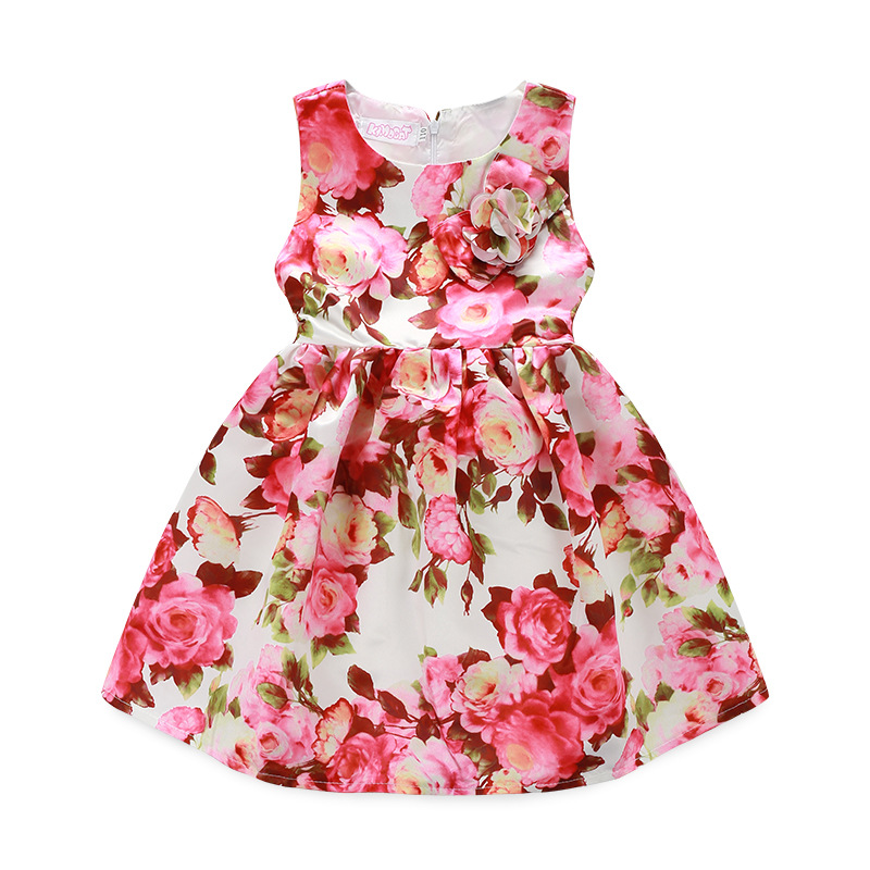 ФОТО 2-9Y Baby Girl Dress 2016 Girl Costume High Quality Fashion Baby Girl Dress Floral Print Bow know Belt Cute Girl tutu Clothes