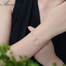 Anenjery Hot Fashion 925 Sterling Silver Anklet Bracelet For Women Double Circle Interlock Chian Ankle Bracelet Jewelry S-B134(China)