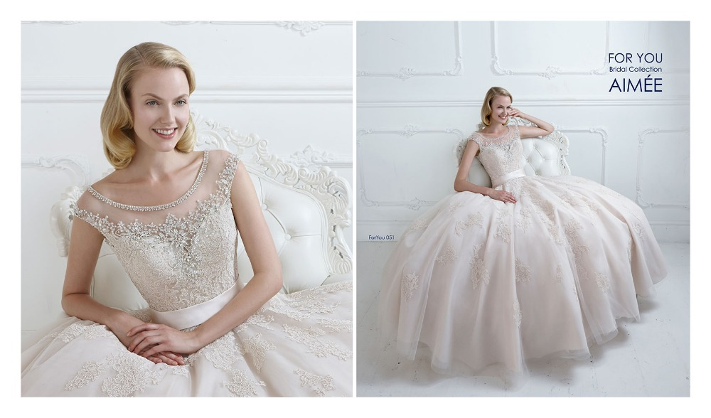 Gorgeous Champagne Wedding Dresses 2015 Princess Cap