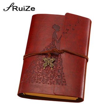 RuiZe A6 leather journal diary blank kraft paper spiral notebook 6 ring binder travelers note book office school stationery цена 2017