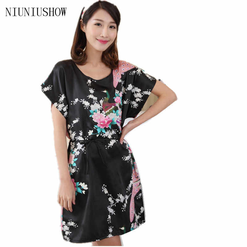 Hot Sale Women Faux Silk Robe Bath Gown Summer Lounge Dress Print Peacock Sleepwear Sexy Nightgown Flower One Size T007