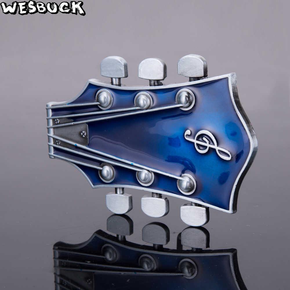 WesBuck Merek Gitar Sabuk Gesper untuk Pria Wanita Mode Musik Gesper Logam Koboi Cowgirl Barat Fivela Marvel Boucle Ceinture