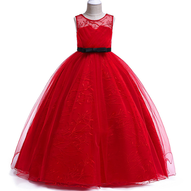 Long Party   Girl     Dress     Flower     Girl     Dress   Kids Costume Princess Wine Red Wedding   Dress   Children's Clothing Party Tutu   Dress   LP-219