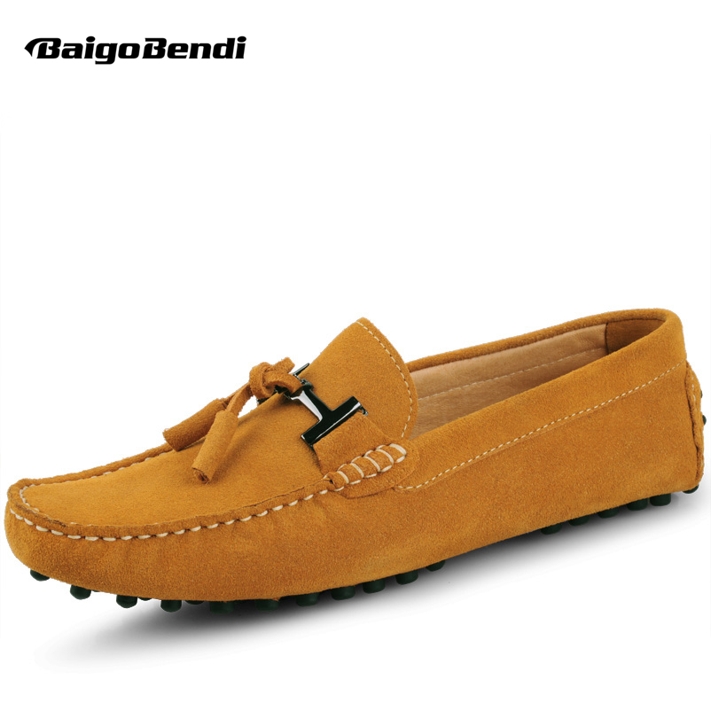EE. UU. 6-12 Really Leather Seude Leather Mens Comfort Tassel Loafer Slip On Mocasin para hombre que conduce los zapatos del coche