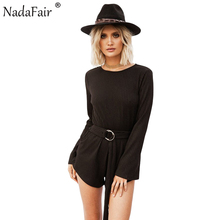 Nadafair Flare Sleeve Open Back Women Casual Playsuits Autumn Long Sleeve Cotton Knitted Sexy Jumpsuits With