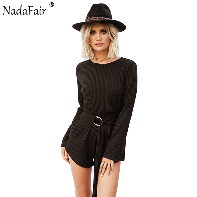 6fc72b3ea1dd Nadafair Flare Sleeve Open Back Women Casual Playsuits Autumn Long Sleeve  Cotton Knitted Sexy Jumpsuits With Belt
