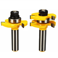 2Pcs Tongue Groove Router Bit 1 2 X1 4 Shank 3 Toothed Tenon Cutter For Woodworking