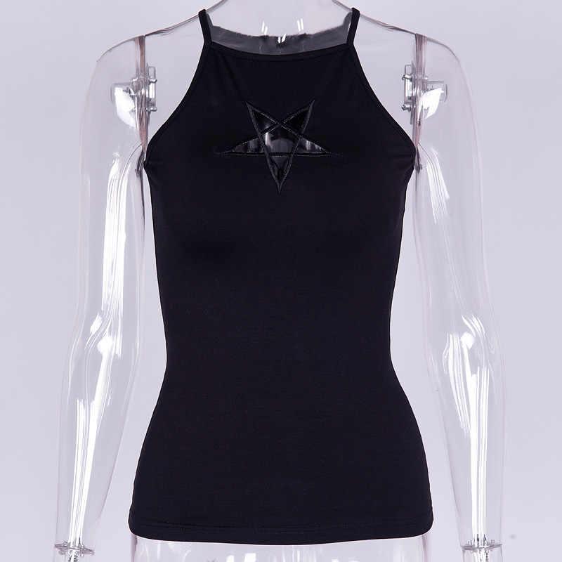ถังสีดำด้านบนสปาเก็ตตี้ Hollow Out Star ผู้หญิงฤดูร้อนปิดไหล่ Bodycon Slim บาง Camis Gothic Punk camis