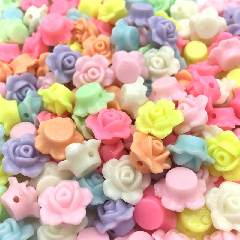 50pcs 13x13mm Cheap MIX Colors Lovely Flower Shape Acrylic beads flatback Cabochon Scrapbooking Craft DIY jewelry Accessories