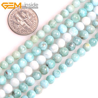 Gem Inside AAA Natural Round Smooth Blue Larimar Beads For Jewelry Making Strand 15inches DIY Jewellery
