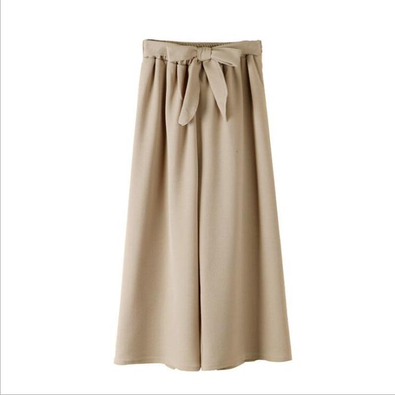 New high waist slimming elastic waist tie bow wide leg pants 4 pieces