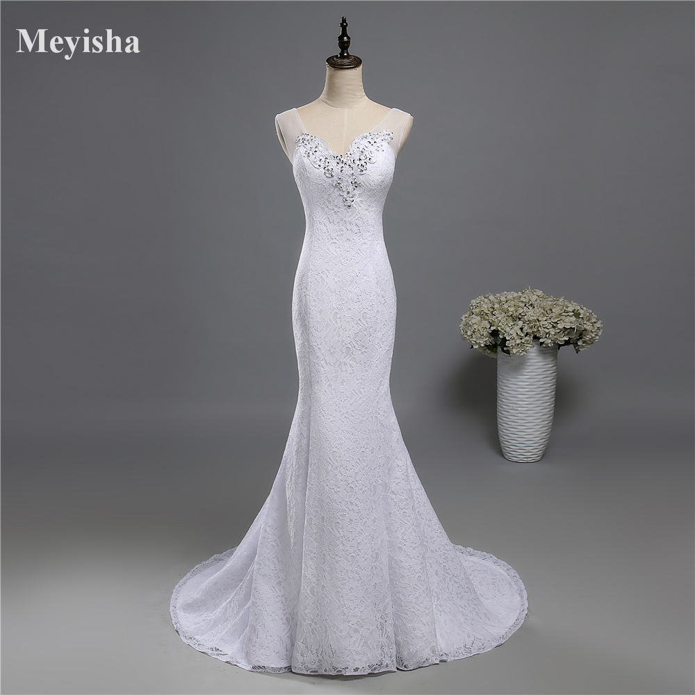 ZJ9140 2019 2020 Lace White Ivory Mermaid Wedding Dresses For Brides  Plus Size Maxi Formal Customer Made With Train Size 2-26W