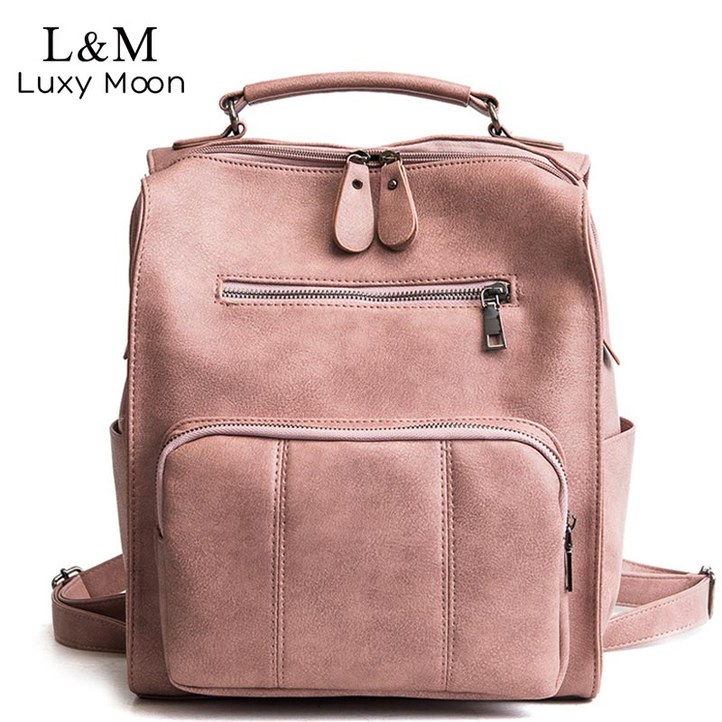 Women Leather Backpack Female Teenage Girls School Backpacks Vintage Large Multifunction Mochila Solid Shoulder Bag Black XA528H