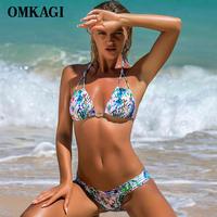 OMKAGI Brand Brazilian Bikini 2017 Swimsuit Swimwear Women Sexy Push Up Swimming Bathing Suit Beachwear Colorful