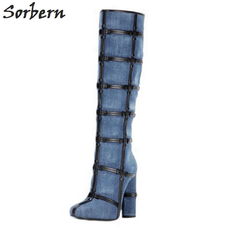 Sorbern Blue Denim Knee High Boots Women Winter Shoes Women Winter Boots Warm Custom Color/Material Size 33-46