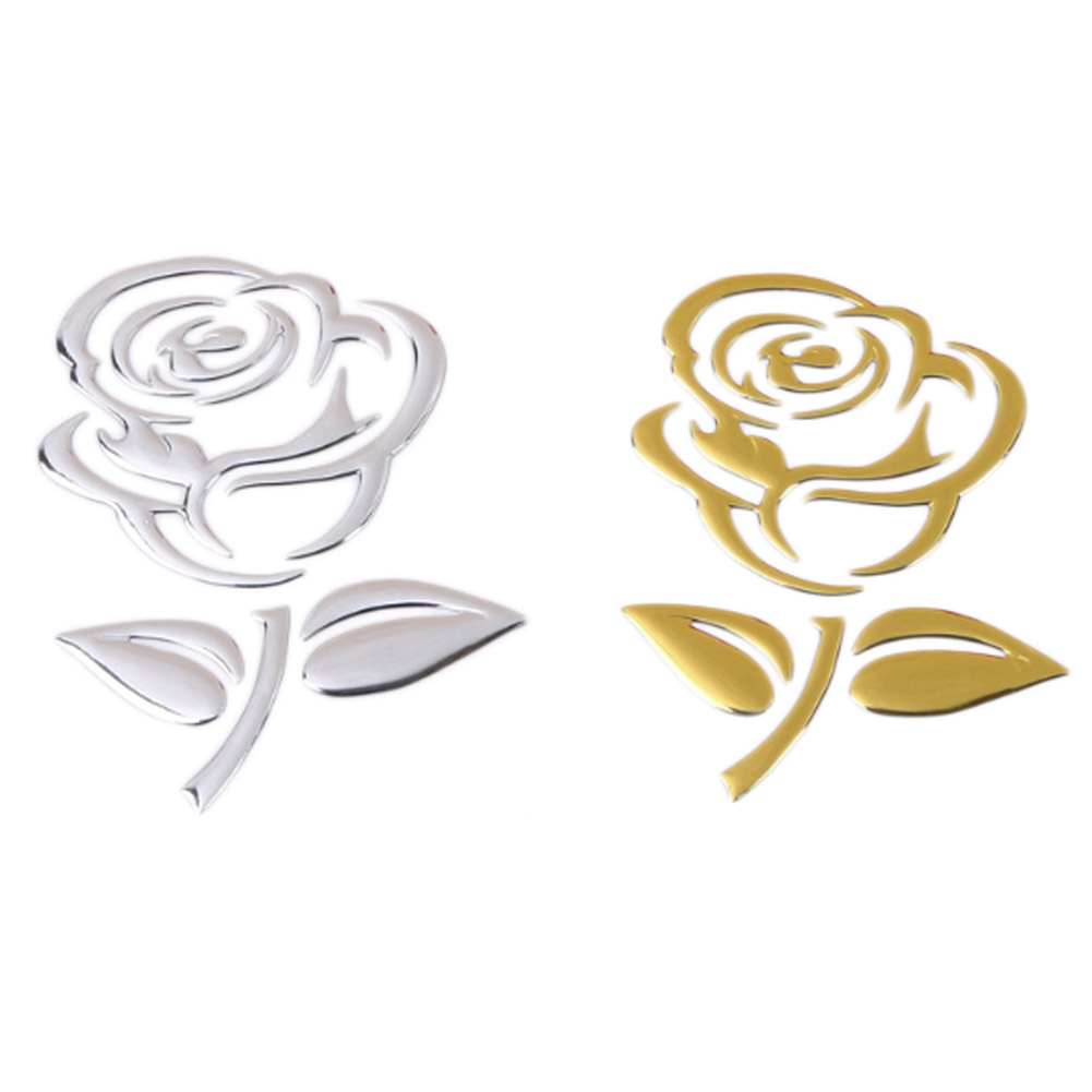 PVC stickers 3D stereo rose car stickers gold silver Rose Pas