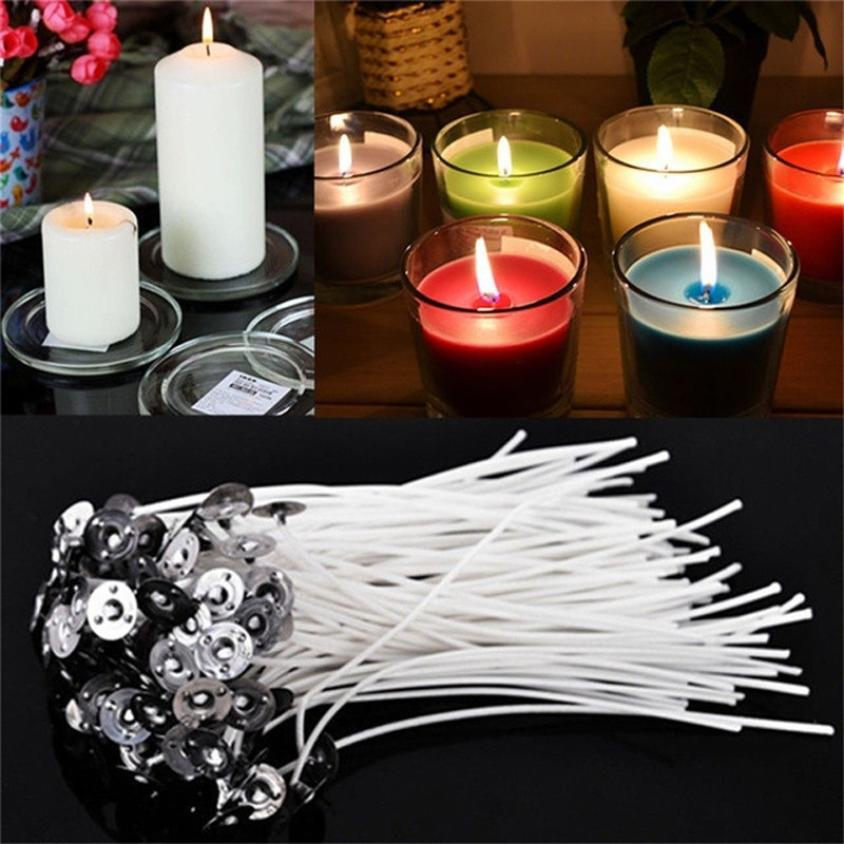 Flat Top Candle Mold Round Candle Making Model with 50pcs Pre-Waxed Wicks