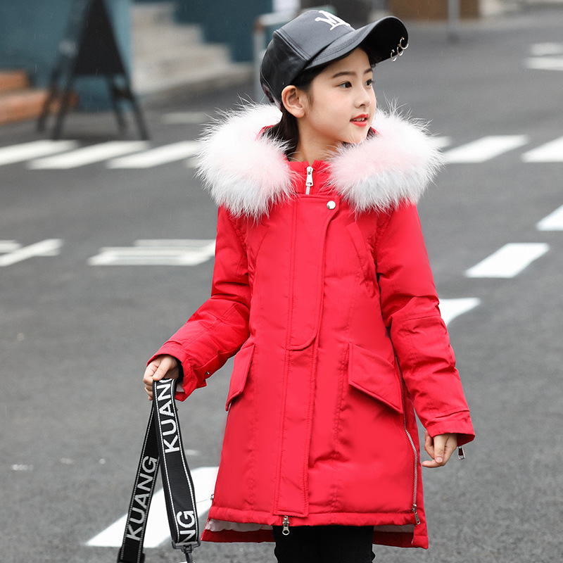 90% White Duck Down Girls Winter Coats 2018 New Fashion X-Long Down Coat Girls Winter Jackets With Fur Collar Solid Hooded Coats цены онлайн