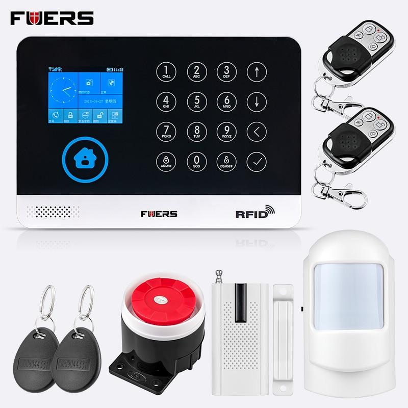 FUERS 2019 NEW WG11 WIreless GSM Home Burglar Security Alarm System APP Control PIR Motion Detector Sensor 9 Language Switchable Alarm System Kits     - title=