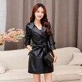 Женщины Длинные Кожаные Пальто Из Искусственного Кожаная Куртка Женщины 2016 Плюс Размер 6XL 5XL Мода Куртки Черный Зимнее Пальто Женщина