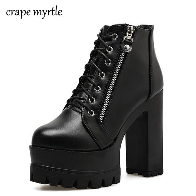 d5286e824a59 Platform Boots 2018 Fashion Thick Heel Ankle Boots Women High Heels Autumn Winter  Woman Shoes punk boots platform shoes YMA64